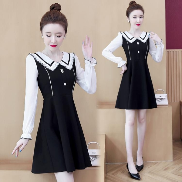 雪紡洋裝 長袖洋裝女裝年秋裝新款小禮服顯瘦氣質小個子短款裙子仙女 雙十二全館免運