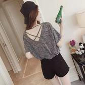 【GZ3E1】韓版上衣 大碼短袖t恤 寬鬆顯瘦露背上衣 2XL M現貨