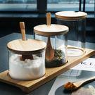 糖罐子 半房雜貨 歐式透明玻璃竹木蓋調料...