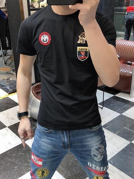 37歐貨潮牌短袖男T恤洋氣夏季新款刺繡緊身圓領純棉半袖體恤