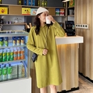連帽長款過膝衛衣裙女顯瘦韓版復古小眾長裙很仙的洋裝 夏季新品