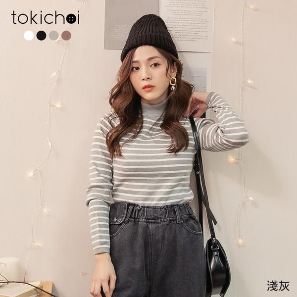 東京著衣-tokichoi-休閒韓系微高領條紋針織上衣(191958)