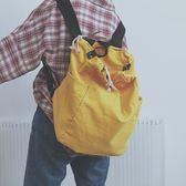 後背包 雙肩包 簡約復古大容量雙肩包水洗做舊帆布手提包百搭多用單肩斜挎包 巴黎春天