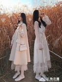 初秋氣質溫柔風法式復古甜美超仙女打底蕾絲網紗洋裝內搭長裙子 三角衣櫃