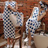 蝴蝶結吊帶裙 清新大圓點綁帶背心裙無袖洋裝 艾爾莎【TAK6495】