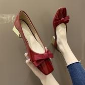 單鞋鞋子女2020新款春夏淺口方頭蝴蝶結仙女風單鞋網紅粗跟中跟晚晚鞋 雲朵走走