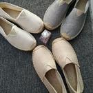 漁夫鞋春夏季亞麻草編蕾絲鏤空小香漁夫鞋女一腳蹬帆布男鞋情侶懶人單鞋
