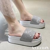 高跟拖鞋 ins網紅厚底拖鞋女2021夏季新款時尚百搭高跟鬆糕一字涼拖鞋外穿 艾家