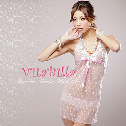 【伊莉婷】VitaBilla 浪漫點點 睡裙+小褲 二件組