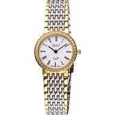 Ogival 愛其華 薄型羅馬晶鑽女錶-白/雙色版 385-021DL半金