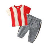 現貨 寶寶套裝 2019夏裝新款男童童裝兒童短袖T恤休閒褲2歲-14歲男童套裝 兩件套