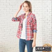 【JEEP】女裝 雙層格紋長袖襯衫 (紅格紋)