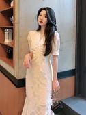 短袖洋裝法式中長款氣質仙女裙子夏季洋氣收腰顯瘦V領泡泡短袖魚尾連身裙 suger