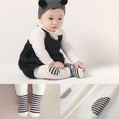 條紋補丁加厚毛圈九分褲襪+止滑短襪組 童襪 白色條紋 兩件組