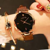 手錶女學生時尚潮流正韓簡約休閒大氣時裝水鑽皮帶防水石英錶-新年聚優惠