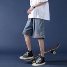 休閒短褲 牛仔短褲男潮牌ins五分褲夏季薄款外穿寬鬆直筒潮流運動5分褲子