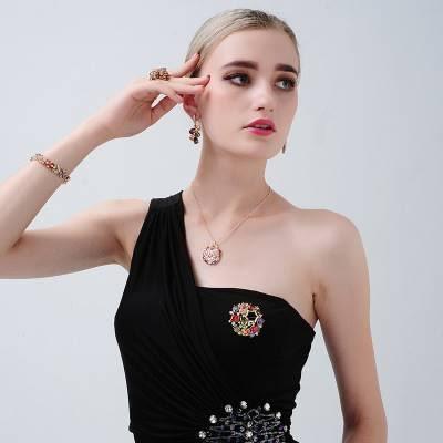 時尚奢華高檔微鑲鋯石蒙娜麗莎五彩項鍊 (0264)
