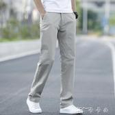 春季休閒褲男寬鬆彈力男褲百搭夏季薄款黑色長褲男士直筒流褲子 卡卡西