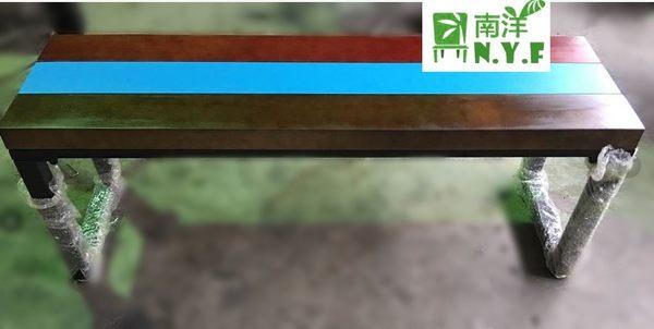 【南洋風休閒傢俱】餐桌系列-美式復古鐵藝長餐椅 工業風鐵長板凳 餐椅 公園椅 騎樓等待椅649-13