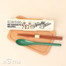 日貨筷子湯匙組附盒CCS3SA 奇奇蒂蒂- Norns 日本迪士尼Skater 防滑耐熱 攜帶無聲 環保餐具