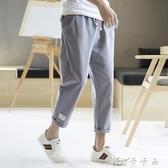 夏季八分男褲子韓版修身流九分褲寬鬆8分亞麻9分休閒褲夏天百搭 卡卡西
