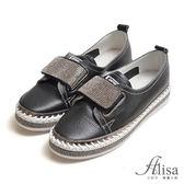 專櫃女鞋 水鑽魔鬼氈厚底休閒鞋-艾莉莎Alisa【2531797012】黑色下單區