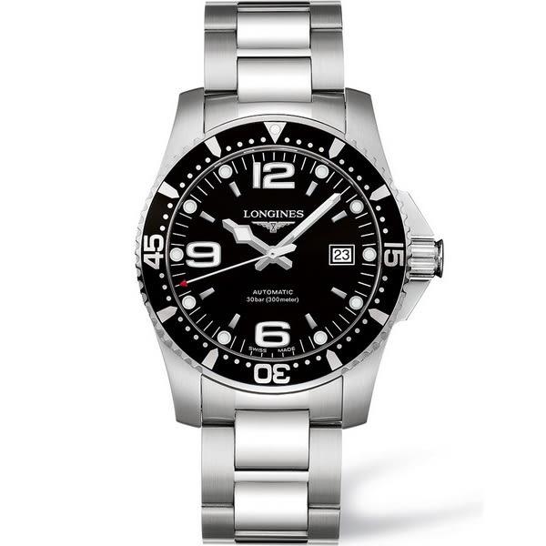 【台南 時代鐘錶 LONGINES】浪琴 L37424566 深海征服者 300米運動潛水錶機械錶 黑/銀 41mm