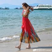 泰國洋裝女巴厘島三亞海邊度假沙灘裙新款波西米亞長裙超仙 雙十二全館免運