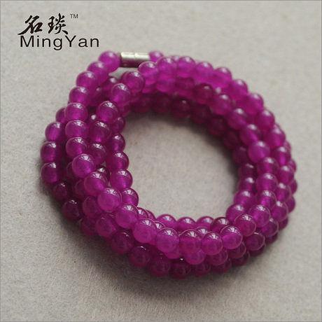 6MM紫玉髓手鏈 多圈款式 可做項鏈 妖豔紫紅色