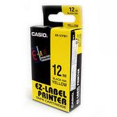 CASIO卡西歐 KL-170 專用標籤紙色帶12mm單卷裝黃底黑 XR-12YW1