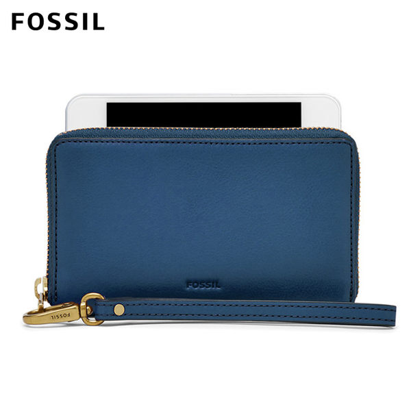 FOSSIL Emma 藍色真皮RFID拉鍊中夾
