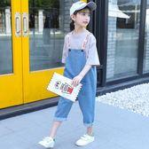 女童背帶褲兩件套2018新款夏裝中大童兒童九分洋氣牛仔闊腿褲套裝   初見居家