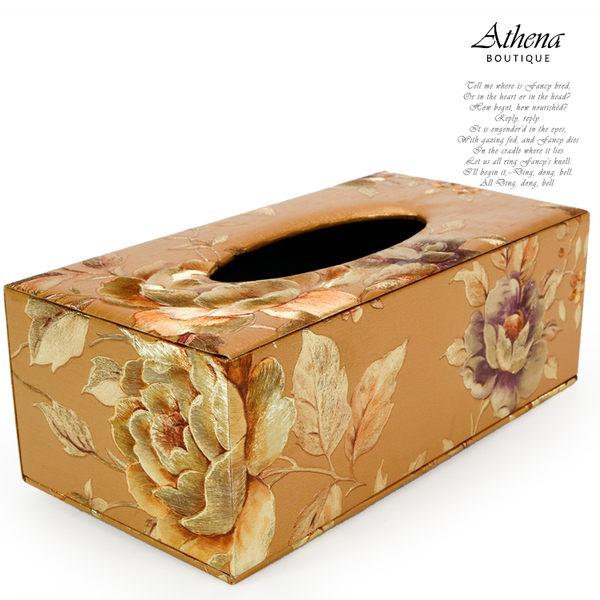【雅典娜家飾】金色牡丹花仿刺繡紙巾盒-GF53