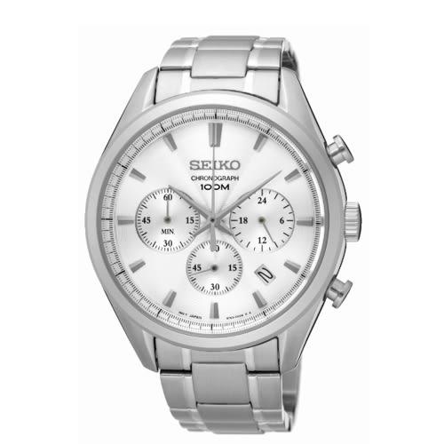 SEIKO CS優雅風格石英計時腕表/白/8T63-00C0S/SSB221P1