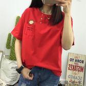 紅色t恤女短袖新款百搭上衣半袖