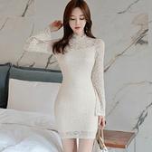 歐媛韓版 蕾絲連身裙 秋季新款洋裝小禮服 名媛風氣質女人味緊身包臀喇叭袖包臀短裙