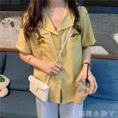 心機上衣夏季刺繡短袖襯衫新款設計感小眾韓版女寬鬆襯衣超仙 蘿莉小腳丫