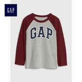 Gap男嬰幼童 logo插肩長袖圓領T恤 496362-淺麻灰