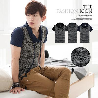 柒零年代【N8595J】韓系視覺潮流反折領豹紋拼接短袖上衣(JK3032)Casual