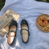 韓國黑色小皮鞋簡約百搭復古英倫風圓頭淺口一字扣學生單鞋女