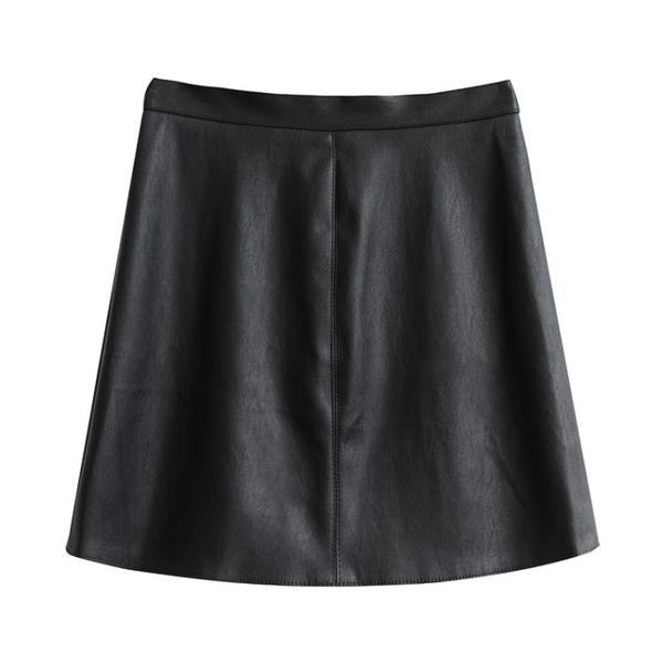 皮裙 高腰包臀皮裙女秋黑色小皮裙休閒顯瘦半身裙a字pu裙子短裙 2色S-L