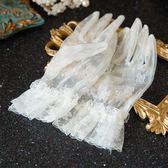 水舞 新娘 韓式短款手套乳白色花朵結婚紗五指手套配件 N0114  檸檬衣舍