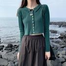 長袖毛衣 針織衫泫雅高腰短款露臍單排扣小眾針織開衫小外套潮 風尚