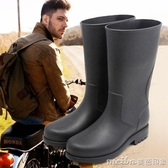 新款高筒防滑雨靴戶外保暖中筒膠鞋釣魚防水鞋成人雨鞋男 美芭