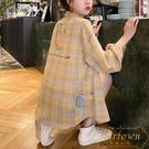 防曬衣女韓版洋裝長袖寬鬆后背印花格子襯衫外套【繁星小鎮】