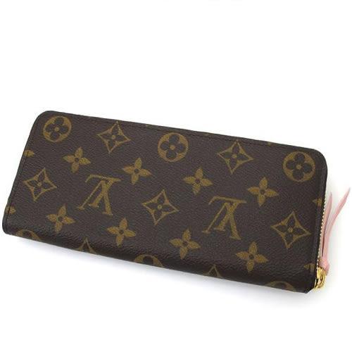 茱麗葉精品 全新精品Louis Vuitton LV M61298 Clemence 經典花紋拉鍊長夾.粉(預購)