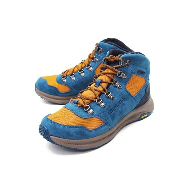 【南紡購物中心】MERRELL(男) ONTARIO 85 MESH MID WATERPROOF 戶外鞋 男鞋 -藍黃