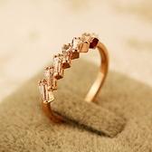 戒指 玫瑰金純銀 鑲鑽-高貴滿鑽生日情人節禮物女飾品73by29[時尚巴黎]