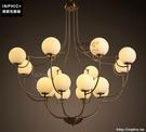INPHIC- 時尚復古鐵藝玻璃燈罩燈飾服裝店酒店複式樓大型圓球吊燈_S197C