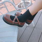 森女娃娃鞋單鞋女日系淺口圓頭交叉帶碎花平底鞋舒適學生鞋女單鞋  極有家